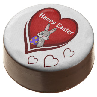 Happy Easter with Heart and Bunny Chocolate Covered Oreo