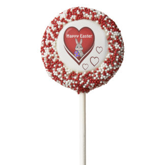 Happy Easter with Heart and Bunny Chocolate Dipped Oreo Pop