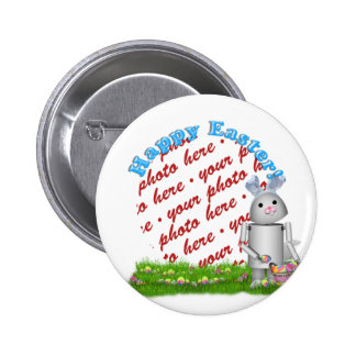 Happy Easter with Lil' Robo-x9  Photo Frame Pinback Button