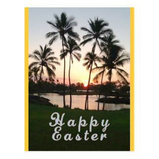 Happy Easter with Palms At Sunset Postcard