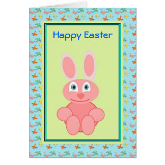 Happy Easter with pink bunny rabbit smiling Greeting Cards