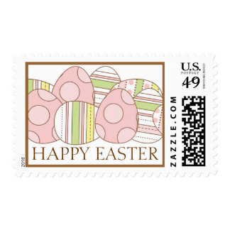 Happy Easter with Pretty Pastel Decorated Eggs Postage