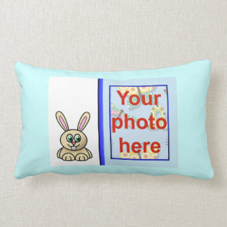 Happy Easter with rabbit add your photo Throw Pillow