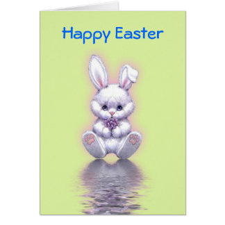 Happy Easter with rabbit smiling Greeting Cards
