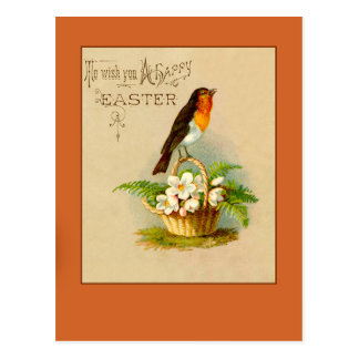 Happy Easter with Robin Redbreast Cards Post Card