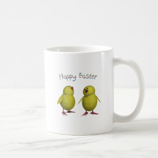 Happy Easter with Two Cute Chicks Basic White Mug