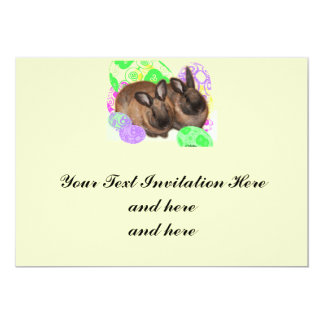 Happy Easter with Two Easter Bunnies & Easter Eggs Custom Invite