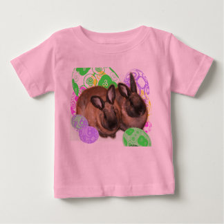 Happy Easter with Two Easter Bunnies & Easter Eggs Tee Shirt