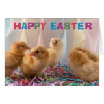 Happy Easter Yellow Baby Chicks Greeting Card