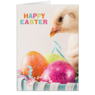 Happy Easter Yellow Chick in Egg Basket Card