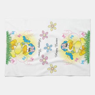 Happy Easter Yellow Ducky Seasonal Kitchen Towels
