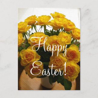 Happy Easter Yellow Rose Holiday Postcard