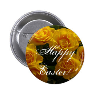 Happy Easter Yellow Rose Pinback Button