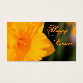 Happy Easter Yellow Spring Daffodil Flower Business Card