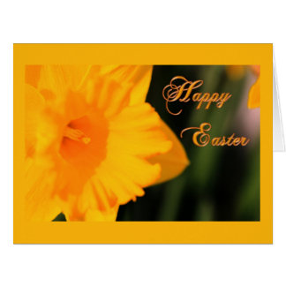 Happy Easter Yellow Spring Daffodil Flower Card