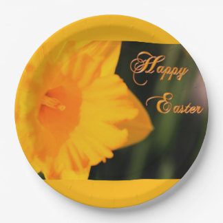 Happy Easter Yellow Spring Daffodil Flower Paper Plate