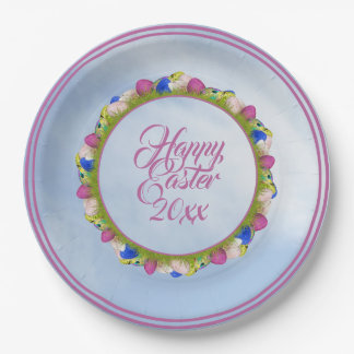 Happy Easter & Yr - Floral Photography Easter Eggs Paper Plate