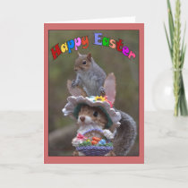 Happy EasterFeaturing cute, funny image of Squirre Holiday Card
