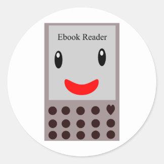 Happy Ebook Reader 1 Classic Round Sticker