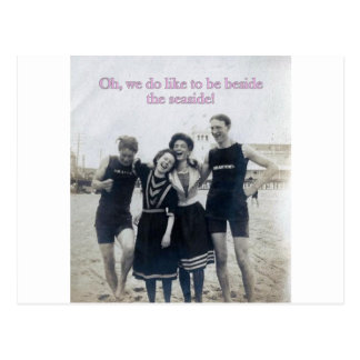 Happy Edwardians by the sea Postcard