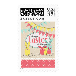 Happy Eeaster Colorful Bunnies Postage