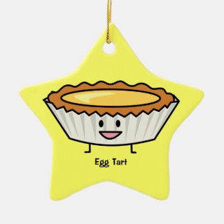 Happy Egg Tart Custard crust Chinese dessert Ceramic Ornament