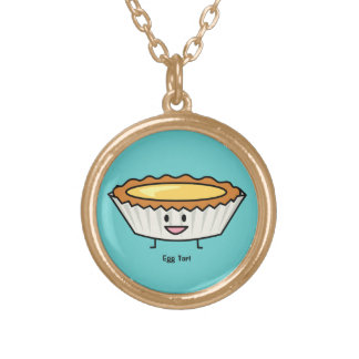 Happy Egg Tart Custard crust Chinese dessert Gold Plated Necklace