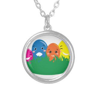 Happy Eggs Round Pendant Necklace