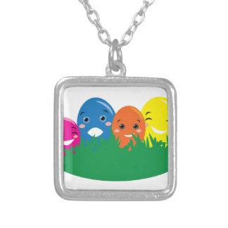 Happy Eggs Square Pendant Necklace