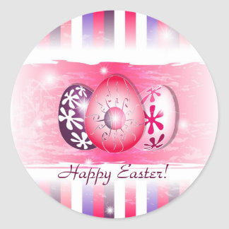 Happy Eggy Easter wishing cards Classic Round Sticker