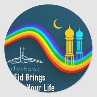 happy eid.jpg classic round sticker