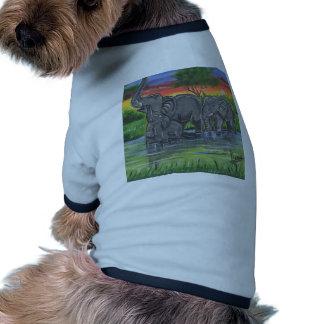 Happy Elephalants Family In Wild Savana Lake With Doggie Tee Shirt