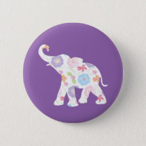 Happy Elephant-Big-Flower Pattern Modern Button