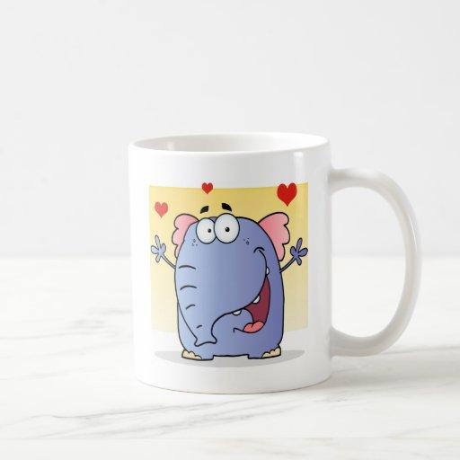 Happy Elephant Cartoon Character Mug
