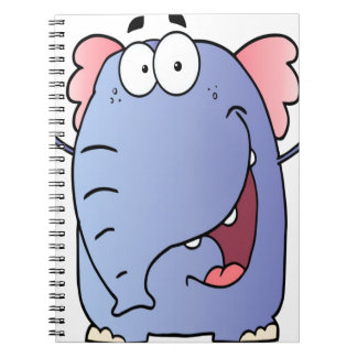 Happy Elephant Cartoon Character Spiral Notebook