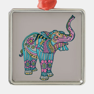 Happy Elephant Metal Ornament