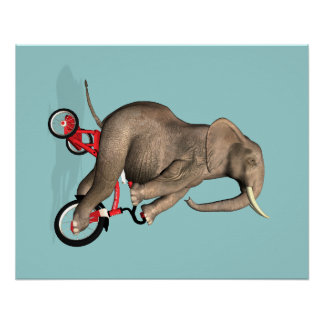 Happy Elephant On Tricycle Poster