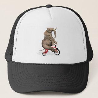 Happy Elephant On Tricycle Trucker Hat