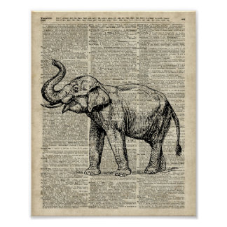 Happy Elephant Over Vintage Dictionary Book Page Poster