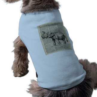 Happy Elephant Over Vintage Dictionary Book Page Shirt