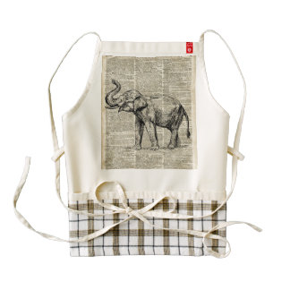 Happy Elephant Over Vintage Dictionary Book Page Zazzle HEART Apron