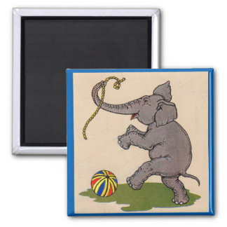 happy elephant playing with rope and ball 2 inch square magnet