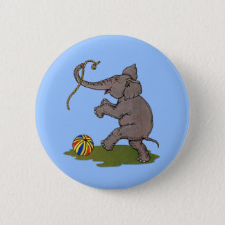 happy elephant playing with rope and ball button