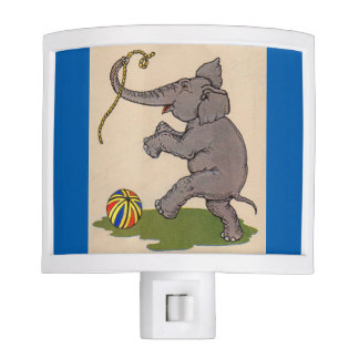 happy elephant playing with rope and ball night light