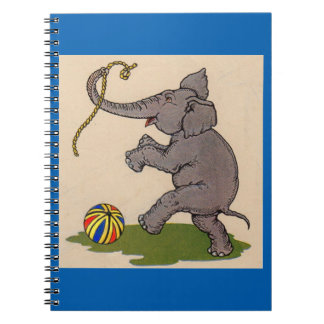 happy elephant playing with rope and ball notebook