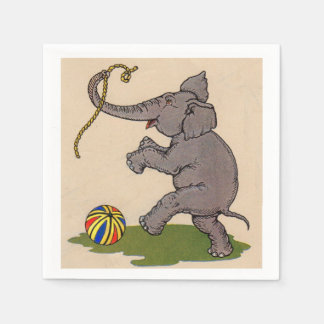 happy elephant playing with rope and ball paper napkin