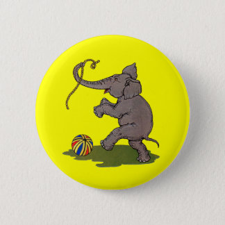 happy elephant playing with rope and ball pinback button