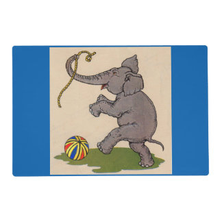 happy elephant playing with rope and ball placemat