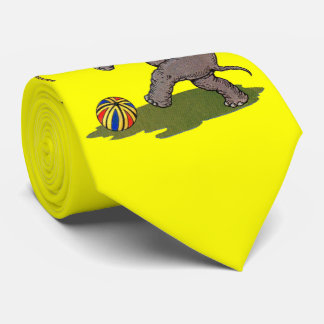 happy elephant playing with rope and ball print tie