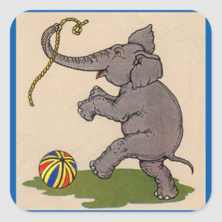 happy elephant playing with rope and ball square sticker